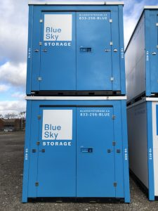Container Doors Painted in Blue with Blue Sky Logo in White