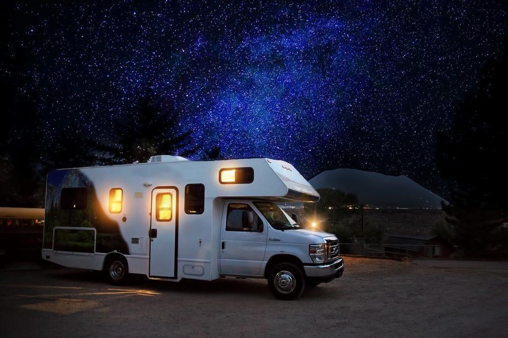 RV at night - self storage burlington