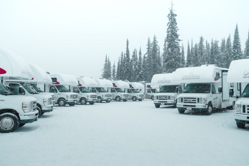 RV parking lot in snow